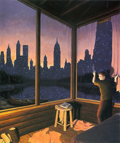 Change of Scenery. Canadian painter of magic realism Rob Gonsalves