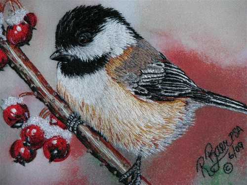Chickadee. Realistic embroidery by Elza