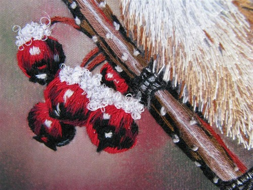 Closeup of the berries and snow, Realistic embroidery by Elza