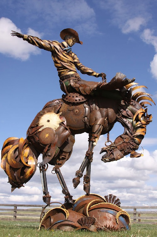 Cowboy on a Horse. Life-sized scrap metal sculpture by South Dakotan sculptor John Lopez