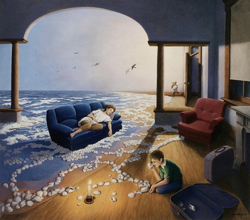 Creating waves. Painting by Canadian artist Rob Gonsalves