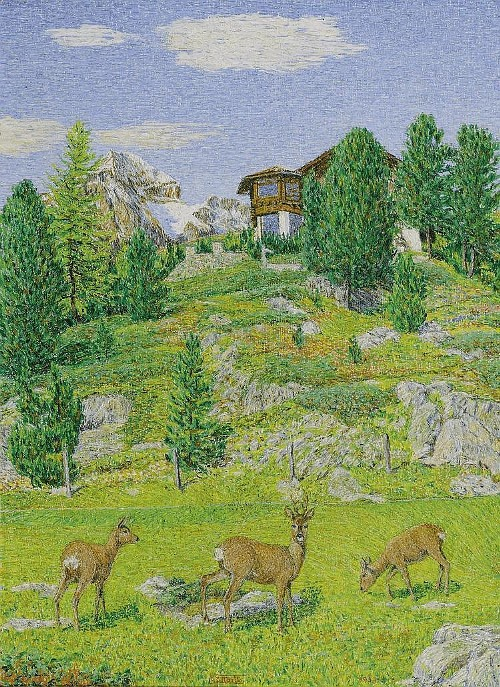 Deer near the Villa Oberalpina with Piz Julier, St. Moritz. 1953. Painting by Italian artist Giovanni Segantini