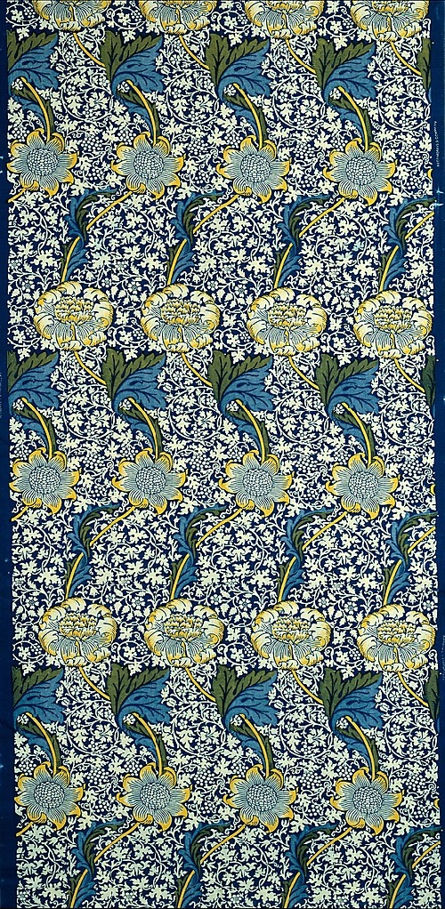 Designed by William Morris. 1883; Medium - Cotton, indigo discharge and block-printed. William Morris Textiles and Wallpaper
