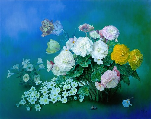 Dreamy Summer Begonias, oil on canvas, 2003. Still life painting by Jose Escofet