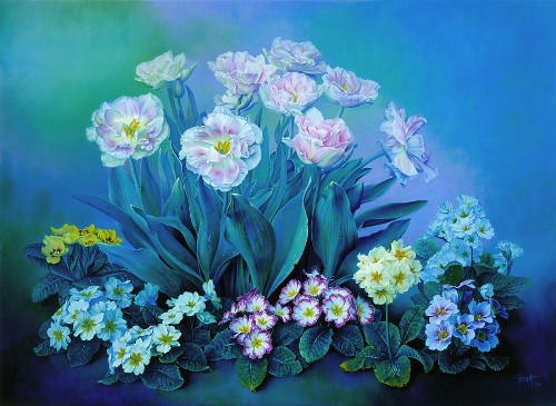 Early Blooms, oil on canvas, 2004. Still life painting by Jose Escofet