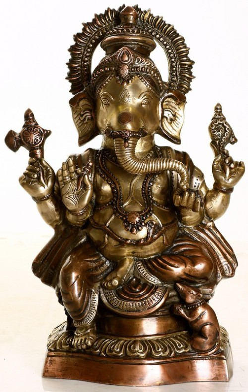 Ekadanta Ganesha. Brass Sculpture