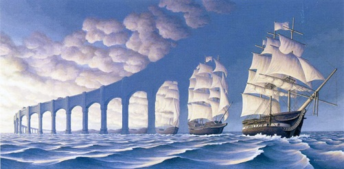 Embark on a voyage. Painting by Canadian artist Rob Gonsalves