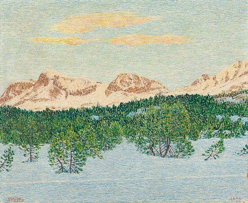Engadine landscape in the winter with Corvatsch, Arles and Rosatsch seen from Maloja. 1959. Painting by Italian artist Giovanni Segantini