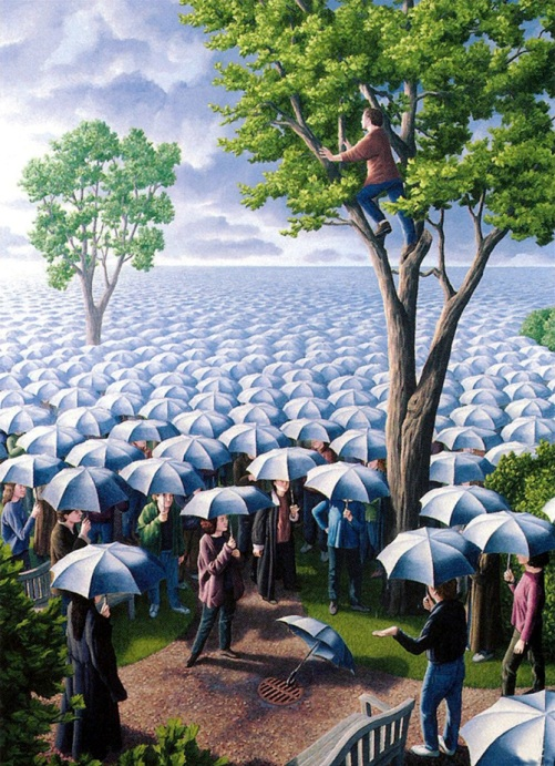 Expected rainfall of umbrellas. Painting by Canadian artist Rob Gonsalves