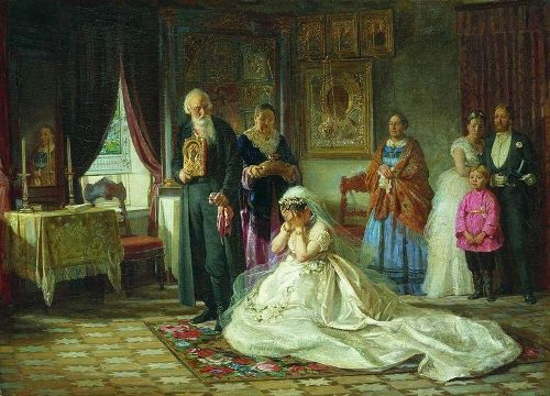 Russian genre painter Firs Zhuravlev. 'Before the Wedding', 1874. State Russian Museum