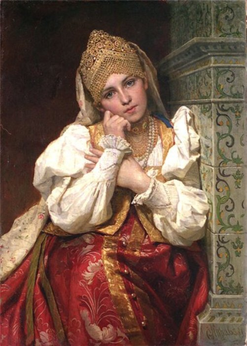 Russian genre painter Firs Zhuravlev. 'Boyaryshnya', 1896. State Museum of Fine Arts of the Republic of Tatarstan