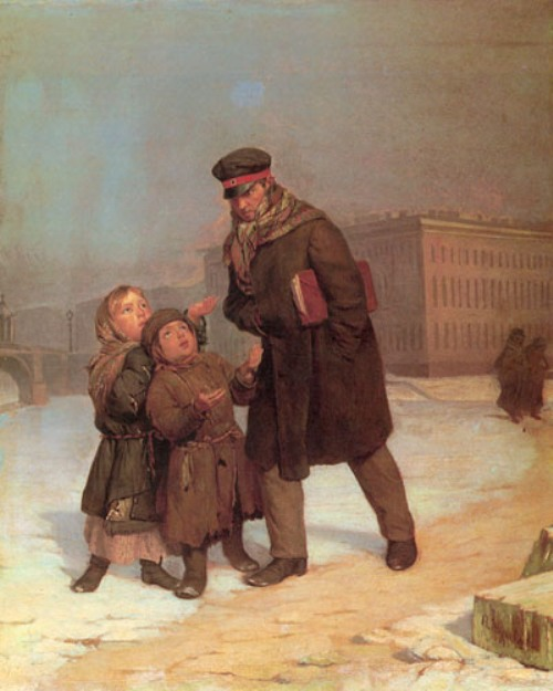 Russian genre painter Firs Zhuravlev. 'Child beggars', 1870. State Russian Museum