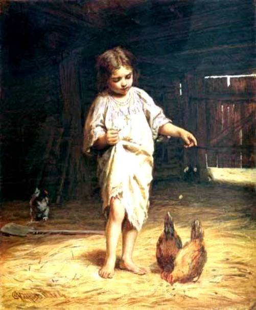 Russian genre painter Firs Zhuravlev. 'Girl with Hens' (before 1901)