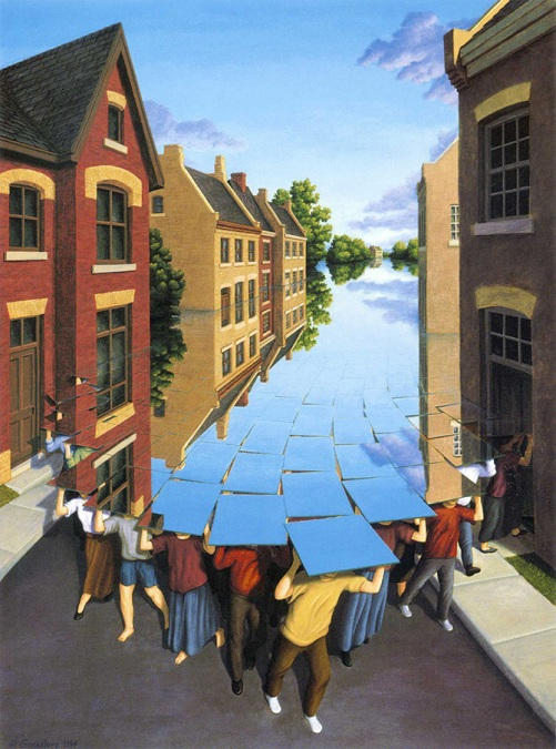 Flood coming. Painting by Canadian artist Rob Gonsalves