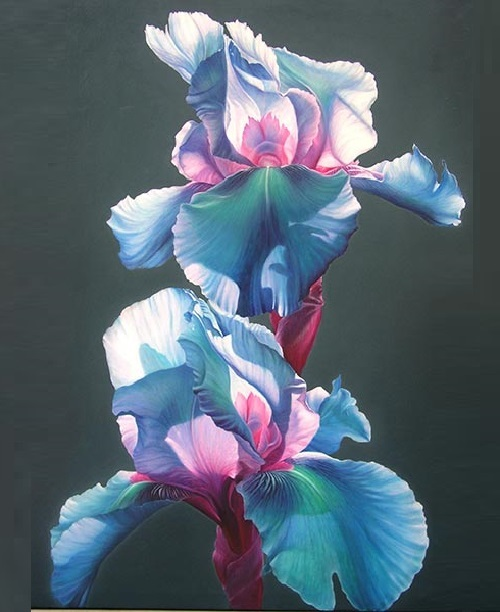 Flower beauty in painting by Chinese artist He Si