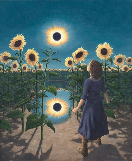 Flower eclipse. Painting by Canadian artist Rob Gonsalves