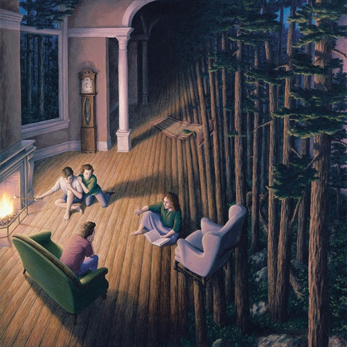 Forest inside. Painting by Canadian artist Rob Gonsalves