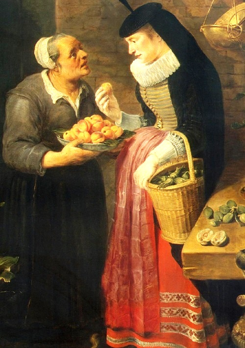 Fruit Shop (detail). Between 1618 - 1621. Flemish painter Frans Snyders (11 November 1579 – 19 August 1657). State Hermitage Museum