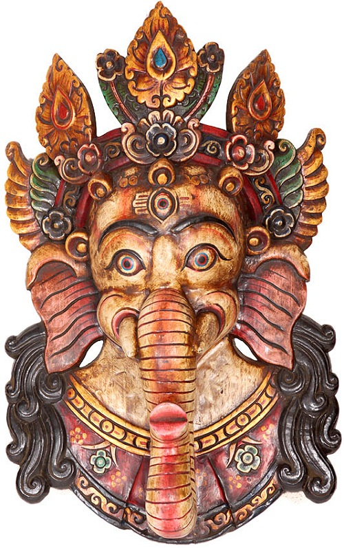 Ganesha Mask. Wood Sculpture