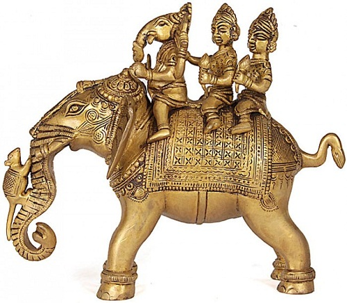 Ganesha Riding Elephant with His Consorts Buddhi and Siddhi