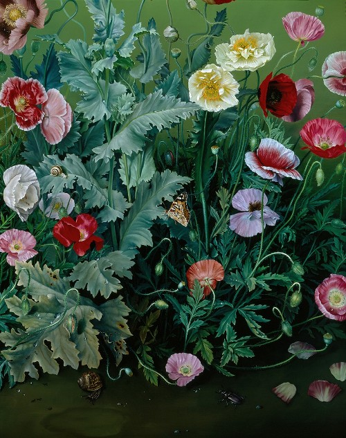 Garden Poppies, detail. Still life painting by Jose Escofet