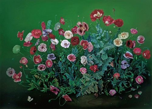 Garden Poppies, oil on canvas, 2000. Still life painting by Jose Escofet
