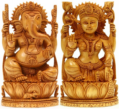 Goddess Lakshmi and Lord Ganesha. Kadamba Wood Sculpture from Jaipur