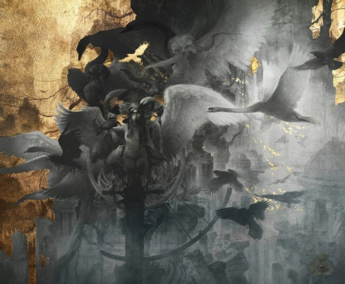 Flying birds. Gold leaf painting by French artist Yoann Lossel