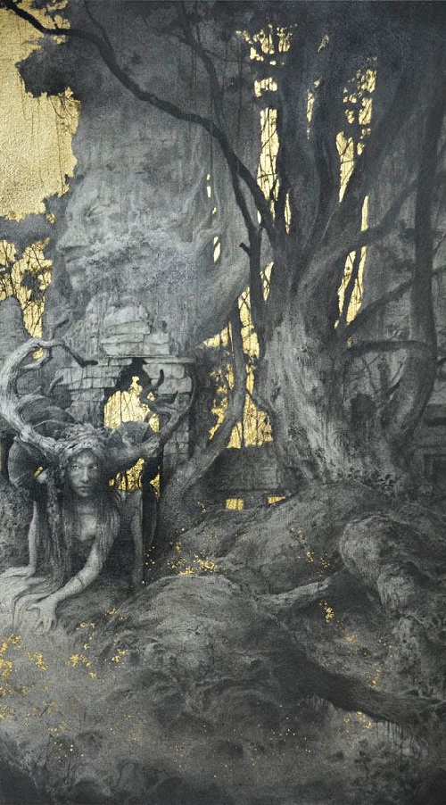 Weird woods. Gold leaf painting by French artist Yoann Lossel
