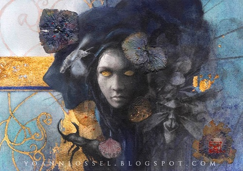Mourning. Gold leaf painting by French artist Yoann Lossel