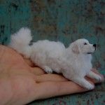White dog. Hand made Realistic Miniature by Reve