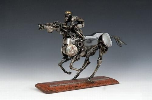 Horse rider. Metal sculpture by James Corbett