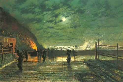In Peril. Moonlight Painter John Atkinson Grimshaw