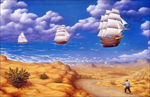 In search of the sea. Painting by Canadian artist Rob Gonsalves