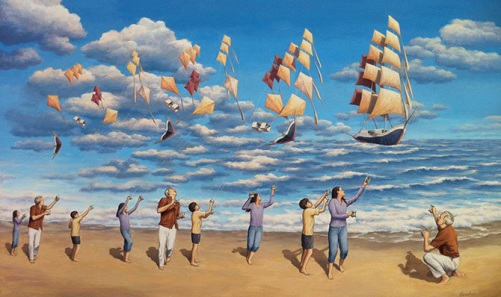 In the open sea. Canadian painter of magic realism Rob Gonsalves