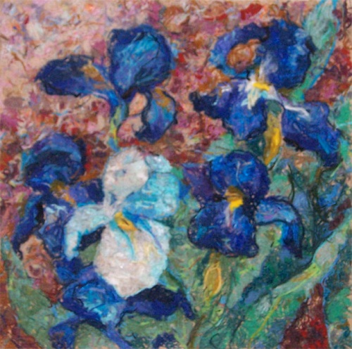 Irises. Wool painting by Russian artist Lyubov Khitkova