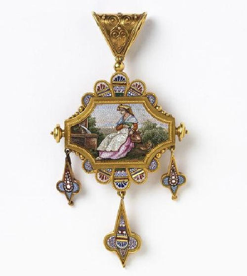 Italy about 1870. Jewelry set with scenes from rural life. Pendant could also be worn as a brooch (detail)
