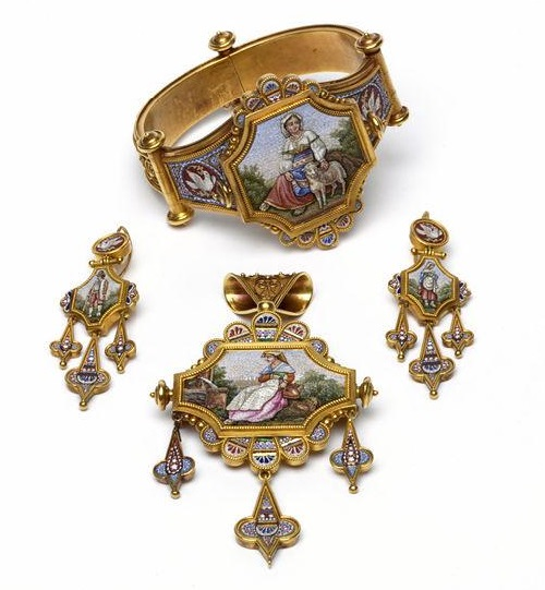 Italy about 1870. Jewelry set with scenes from rural life. Pendant could also be worn as a brooch