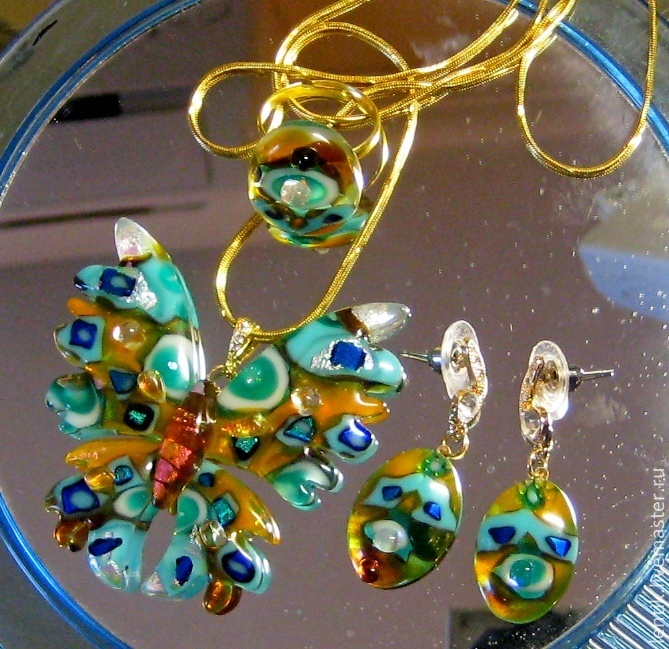 Jewelry set. Glass. Fusing. Artist Elena Nechayeva