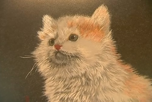Kitten. Embroidery by self-taught artist of applied art Marina Nesterova