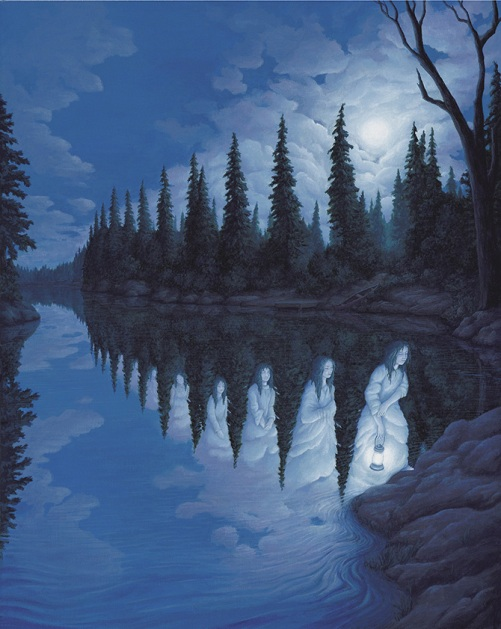 Lake maidens. Painting by Canadian artist Rob Gonsalves