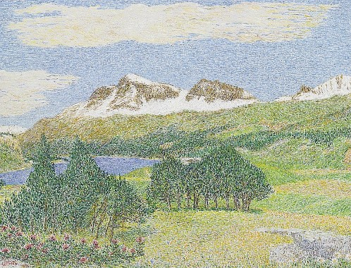 Landscape in Engadin. 1962. Italian painter Giovanni Segantini