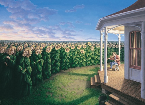 Listening Fields. Canadian painter of magic realism Rob Gonsalves