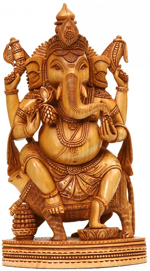 Lord Ganesha. Wood Sculpture