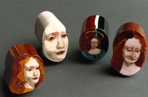 Madonna's brooches. Murrine painting by American self-taught artist Loren Stump