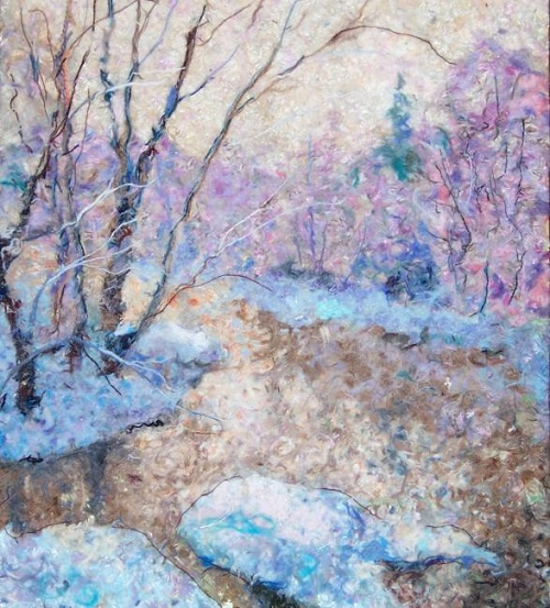 Mild winter. Wool painting by Russian artist Lyubov Khitkova