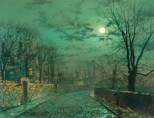 Moonlight Scene near Leeds. Moonlight Painter John Atkinson Grimshaw