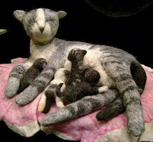 Mother cat with her kittens. Felted composition by Russian artist of applied art Irina Andreeva