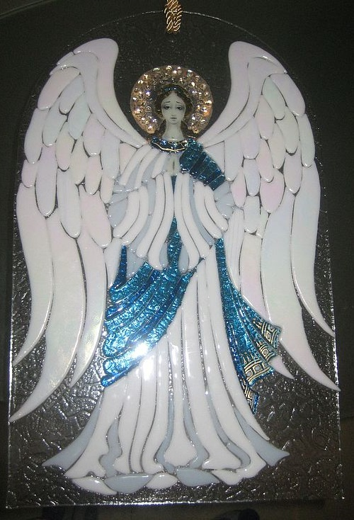 Mural 'Christmas Angel'. Glass. fusing. Artist of applied art Elena Nechayeva