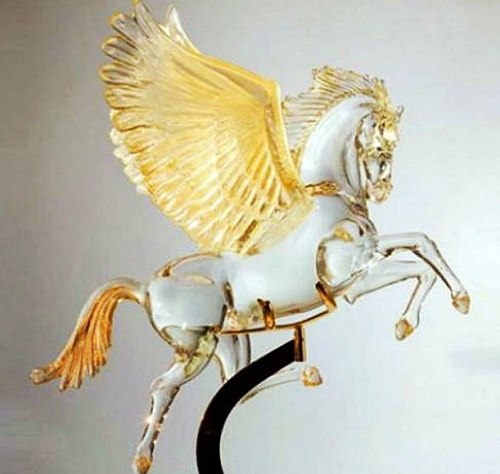 Pegasus glass sculpture by Murano glass artists